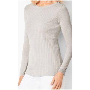 Talbots Crew Neck Ribbed Sweater Light Gray M